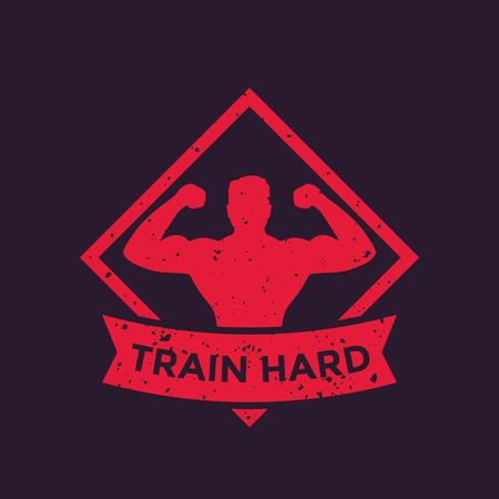 gym training, train hard poster Illustration