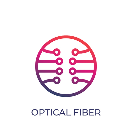 Optical fiber vector icon on white background.