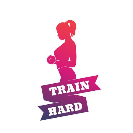 gym training, train hard poster with exercising girl 免版税图像 - 100911317