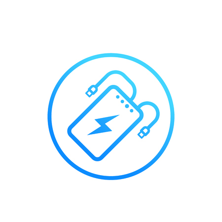 power bank, portable charger vector icon on white Illustration