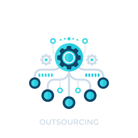 outsourcing, production process vector icon Banque d'images - 100911346