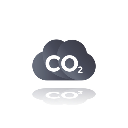 co2 emissions, carbon dioxide cloud icon