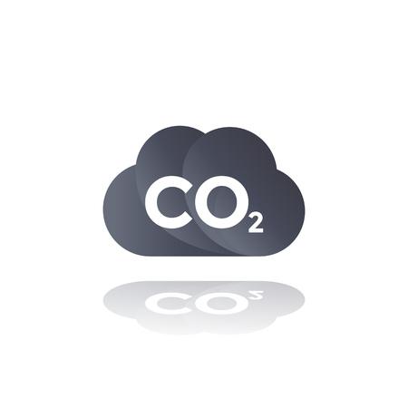 emisiones de co2, icono de nube de dióxido de carbono Ilustración de vector