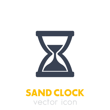 sand clock icon on white Vectores