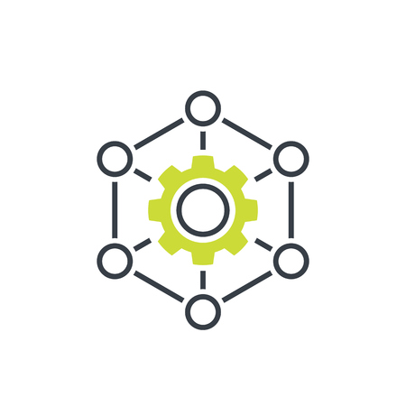 outsourcing, production icon on white Illustration