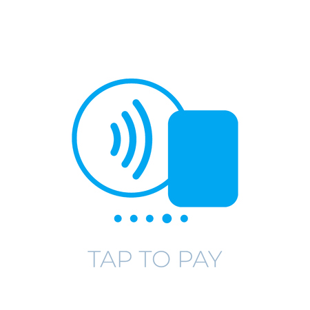 Contactless payment with card icon, tap to pay
