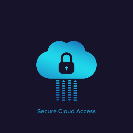 Secure cloud access, protected hosting vector icon 向量圖像