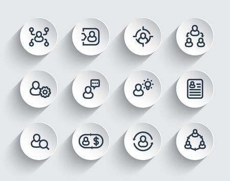 Management, human resources line icons set Illustration
