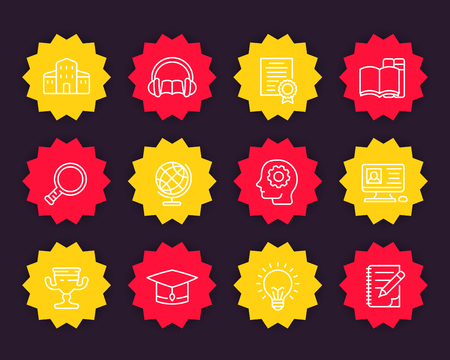 Education, training courses, e-learning linear icons set
