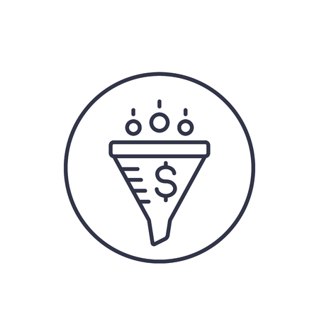 Sales funnel, digital marketing linear icon on white