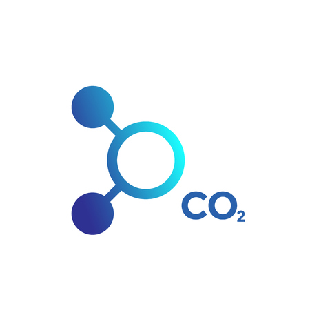 CO2 molecule icon on white background. Çizim