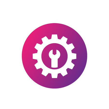 repair service icon, gear and wrench Illustration