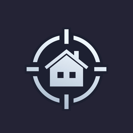 house search icon, real estate logo
