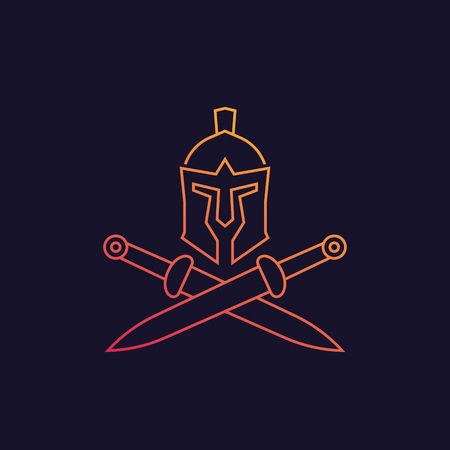 Spartan vector logo with helmet and swords, linear style Illustration