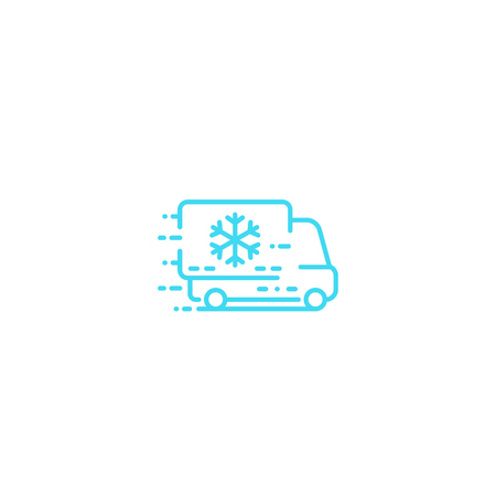 Fridge truck icon, line on white Иллюстрация