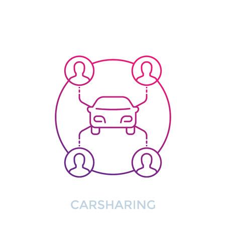 carsharing icon on white, line art Illustration