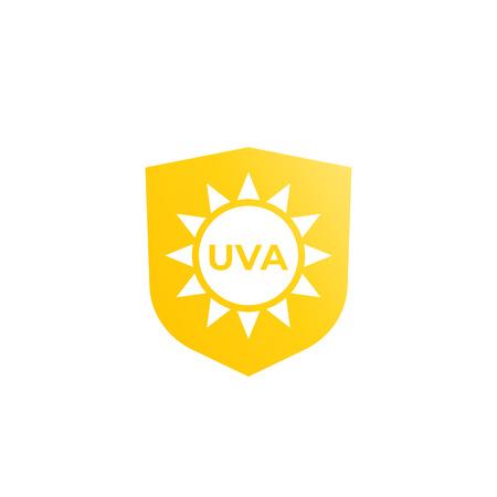 UVA protection icon, sun and shield