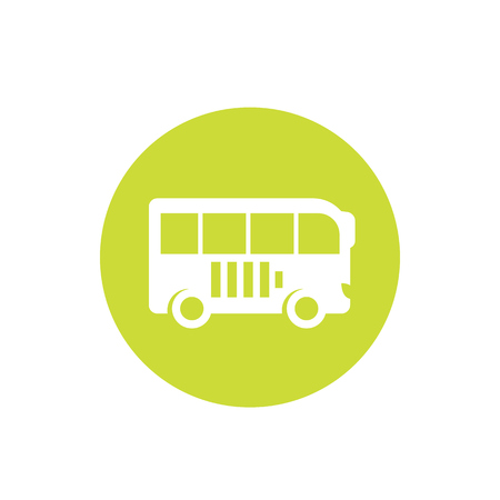 Electric bus vector icon on white