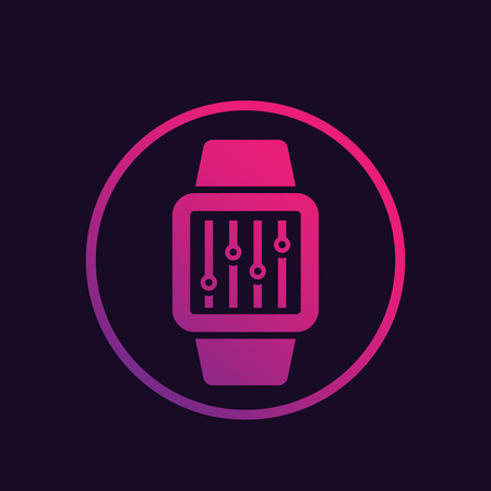 configuration with smart watch, remote settings control vector icon
