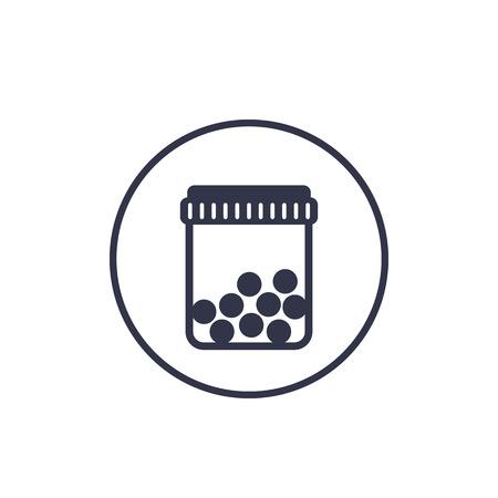 bottle with pills icon on white Ilustracja