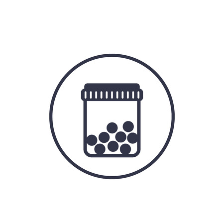 bottle with pills icon on white Illustration