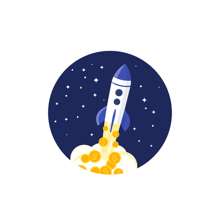 Rocket launch with money vector illustration, startup financing, project launch concept Illustration