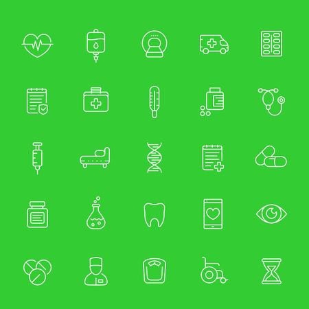 Medicina, salud, conjunto de iconos de línea médica