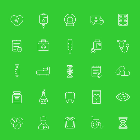 medicine, healthcare, medical line icons set