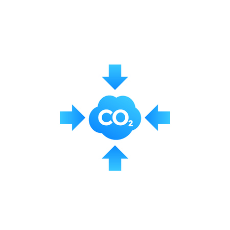 co2, carbon emissions reduction vector icon