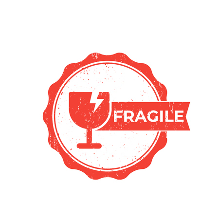 pegatina frágil, insignia de vector