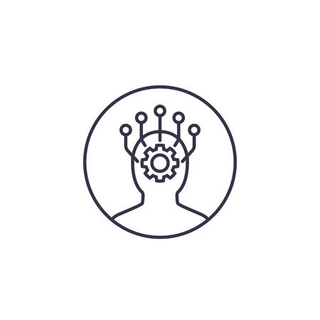 Machine learning and data mining line icon Illustration