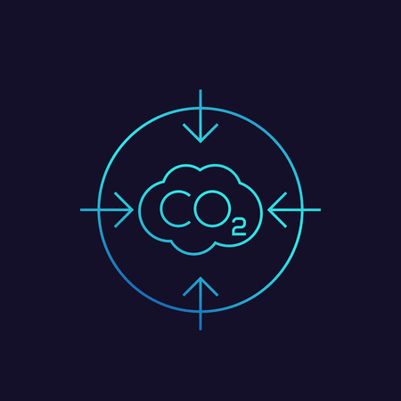co2, carbon emissions reduction linear icon