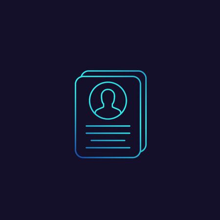 account info, profile card, personal data linear icon