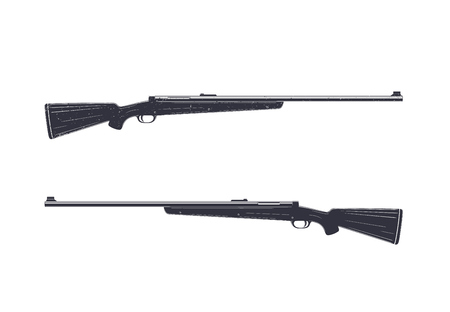 Hunting rifle isolated on white, vector illustration