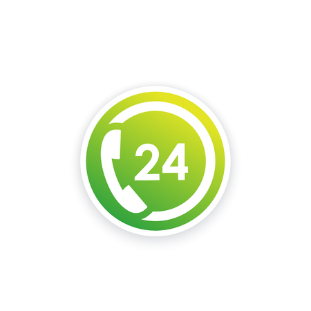 24 hour support service vector icon