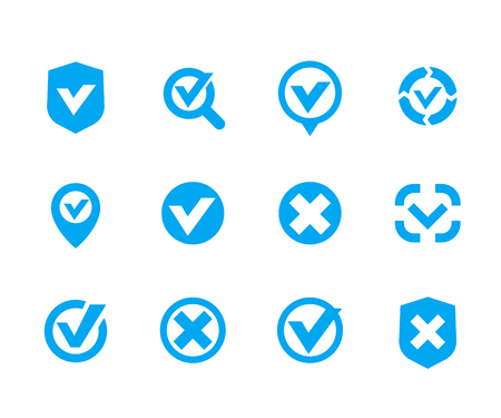 check marks, ticks set, vector checkmark, correct, false, cancel signs Illustration