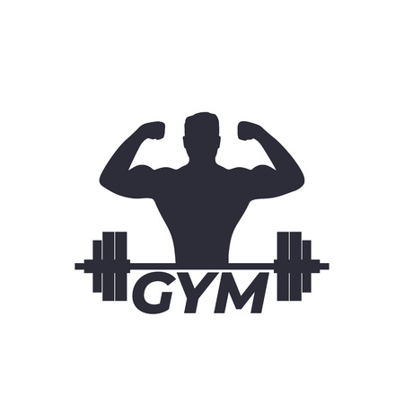 Fitness, gym logo with strong athlete and barbell