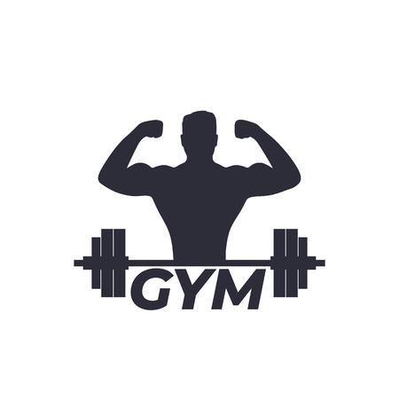 Fitness, logo de gimnasio con atleta fuerte y barra. Logos