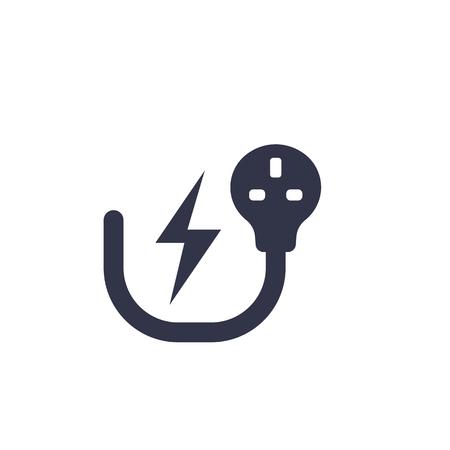 Prise électrique britannique, symbole de l'électricité sur blanc