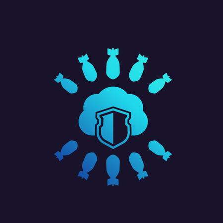 Hosting under DDoS Attack vector icon