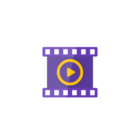 video vector icon, play symbol and film strip