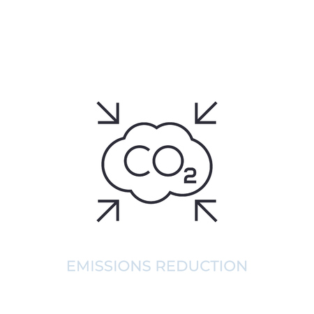 co2, carbon emissions reduction vector line icon on white Ilustração