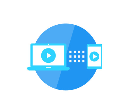 play video, screen mirroring with laptop and smartphone vector icon Vettoriali