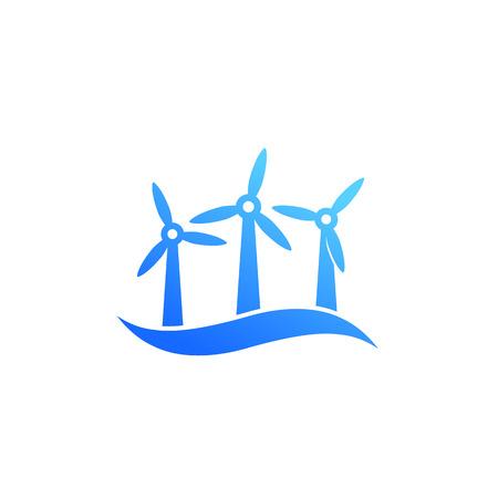 wind turbines, offshore wind farm icon Illustration