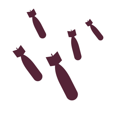 bombing, bombs isolated on white, vector illustration