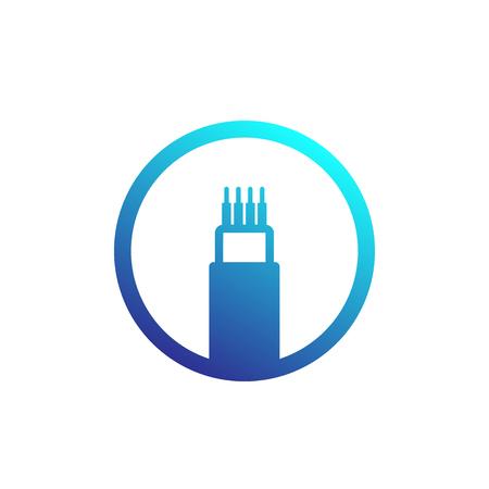 cable óptico, icono de vector de ancho de banda