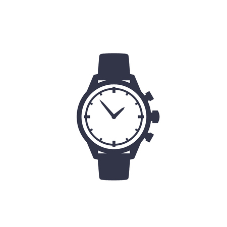 watch vector icon isolated on white Illustration