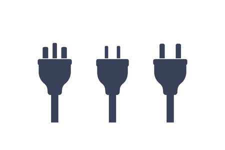 electric plugs on white, vector