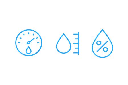 Hygrometer, Feuchtigkeitsvektorliniensymbole Vektorgrafik