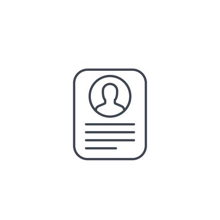 Kontoinformationen, Profilkarte, lineares Symbol für persönliche Daten auf Weiß